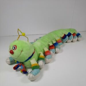 "Commonwealth Lots a Lots a Leggggggs Green Caterpillar rainbow 25"" Plush 20 legs"
