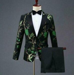 Party Men Gold Embroidery Blazers Host Costume Floral Jacket 2pc Suits pants hot