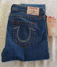 NWT True Religion Blue Skinny Jeans Swarovski Crystals Misses Size 32 Orange