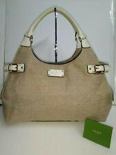 Kate Spade New York Brown Canvas White Leather Tote Satchel Handbag Shoulder Bag
