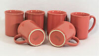 Lot of 6 Vtg Corning Ware Corelle Coral Pink Salmon Coffee Mugs Tea Cups 8oz USA