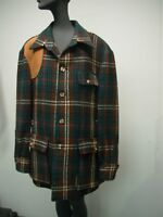 POLO BY RALPH LAUREN BROWN GREEN WOOL MENS HUNTING JACKET SUEDE SHOULDER SIZE L