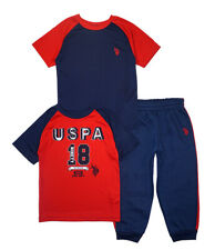 US Polo Assn Boys Red & Navy Top 3pc Jogger Set Size 2T 3T 4T 4 5/6 7