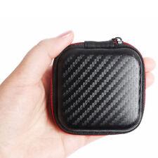 Negro Mini auriculares Bolsa MP3 Funda Cable USB Caja de almacenamiento