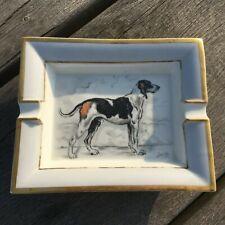 HERMES Vintage Porcelain Ashtray Dog Design