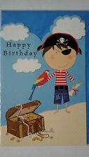 Pirate Happy Birthday card message inside Have fun