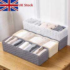 UK Plastic 5-Cells Organizer Storage Boxes Tie Bra Socks Drawer Cosmetic Divider