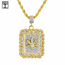 """Men's Gold Plated Iced LEAF Weed Pendant 26"""" Heavy Rope Chain Necklace NA 0122 G"""