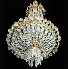 Hollywood Regency Louis XVI Empire Basket Gilt Bronze Crystal 8-light Chandelier