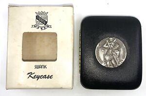 New w Tag Vintage Swank Key Case Keycase St. Christopher Hard Shell Hinge 6 Keys
