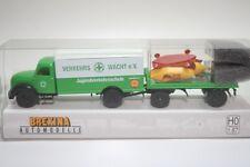 Brekina 94237 - 1/87 Magirus Mercur Mit Anhänger & Seifenkisten - Verkehrswacht