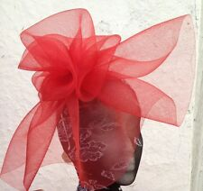 red fascinator millinery burlesque wedding hat hair piece ascot race bridal