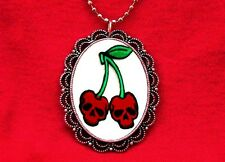 Red Rockabilly Hipster Pendant Necklace Cherry Skull Tattoo Cherries Fruit