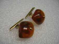 Vintage Russian Baltic Amber Gold Plated Cufflinks