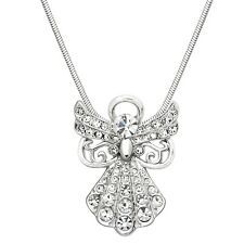 "Guardian Angel Charm Pendant Fashionable Necklace - Sparkling Crystal -17"" Chain"