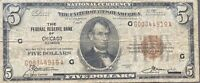 USA 5 Dollar 1929 National Currency $5 Chicago Selten Banknote #22089