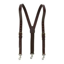 New CTM Men's Coated Leather Buckle Strap Suspenders with Metal Swivel Hook Ends