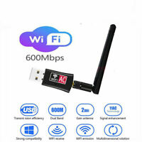 Antenna AC600 USB WiFi Wireless Adapter Dongle WPS 5GHz Dual Band