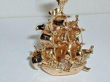 VINTAGE 14k YELLOW GOLD 3D TALL SAILING SHIP GALLEON PENDANT CHARM