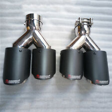 Car Dual Exhaust Tip Pipe Carbon Fiber Muffler Tail Pipe 63mm Inlet 89mm Outlet
