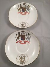 2 x Crown Staffordshire China Saucers Coronation Queen Elizabeth II 1953 No Cups