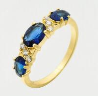 Natural Sapphire Yellow Gold Ring 14k Blue Diamond Women's Wedding Jewelry Band