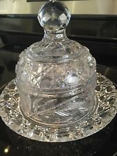 American Brilliant Period hand Cut Glass Antique domed butter cheese dish ABP
