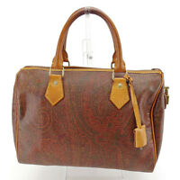 Etro Boston bag Paisley Brown Gold Woman unisex Authentic Used L1197