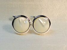 Mother of Pearl 16mm diameter Cufflinks in a Silver finish.