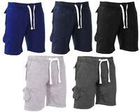 Mens Drawstring Summer Sweat Fleece Jersey Jogging Shorts Length Size S-XXL