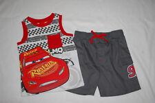 dcda4fb190 Toddler Boys DISNEY CARS TANK TOP & SHORTS SET Red Gray LIGHTNING McQUEEN  Sz 3T