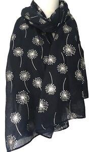 Navy Floral Scarf Ladies Dark Blue Flowers Wrap Silver Dandelion Flower Shawl