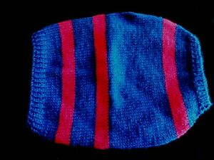 "Hand Knitted Pink & blue dog jacket small 10"" made for Faith Animal Rescue"