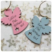 Personalised Christmas Tree Decoration Wooden Angel Baby's First Christmas Gift