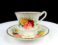 """PARAGON ENGLAND #F54I MULTICOLOR FLORAL GOLD TRIM FLUTED 3"""" CUP AND SAUCER 1957-"""