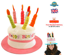 HAPPY BIRTHDAY HAT Cake Hat Candle Hat Adult Ladies Girls One Size PINK Hat