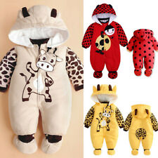 Infant Baby Boy Girl Winter Warm Padded Romper Jumpsuit Hooded Outfit Clothes AU