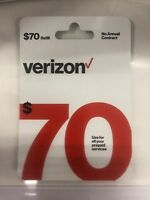 Verizon Wireless- $70 Refill,  Top-Up Airtime Card for Verizon Prepaid Service