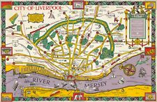 Liverpool 1934 old pictorial map - reproduction - 91.19 x 59.4 cm