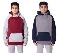 Boys Kids Unisex Contrast Colour Arm Kangroo Pocket Hoodie Sweatshirt Pullover