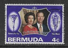 SINGLE USED BERMUDA POSTAGE STAMP - 25th ANNIVERSARY ROYAL WEDDING - 1972