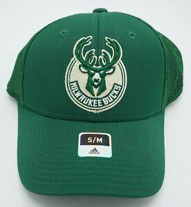 NBA Milwaukee Bucks Adidas Adult Structured Curved Brim Flex Fit Cap Hat Beanie