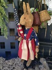 "New 31"" Primitive Handmade Patriotic Folk Art Standing Americana Liberty Bunny"