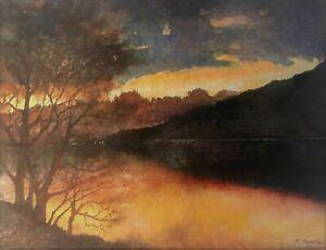 Dusk over Loch Tummel, Scotland-  A Watercolour Landscape Painting by P.Baxter