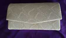 Small light beige snake print clutch bag