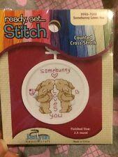 Cross Stitch Mini Kit ~ Janlynn Beginner Somebunny Loves You w/Frame