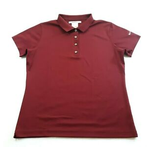 Nike Golf Dri-Fit Women Size Large Burgundy Golf Polo Shirt Polyester Button Up