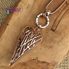 LONG ROSE GOLD COLOURED NICKLE FREE NECKLACE WITH OPEN HEART PENDANT