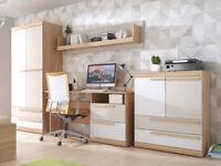 Kids children bedroom furniture set teen playroom bed wardrobe desk shelf