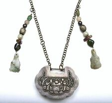Old Chinese Silver Lock Pendant Jade Quan Yin, Tourmaline Bead Charms Necklace